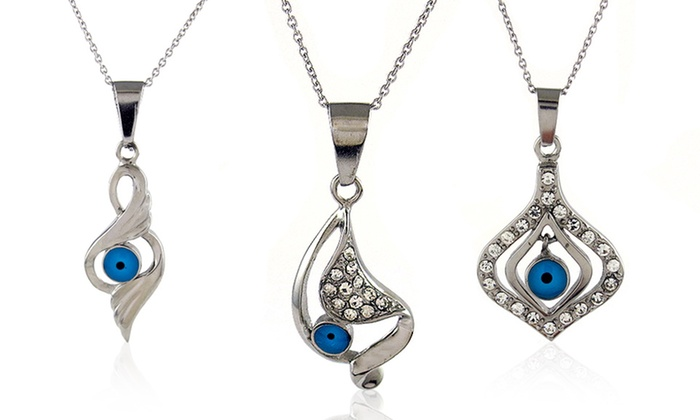 CZ Evil Eye Pendants: $9.99 for a CZ and Stainless Steel Evil Eye Pendant ($90 List Price). Multiple Styles Available. Free Returns.