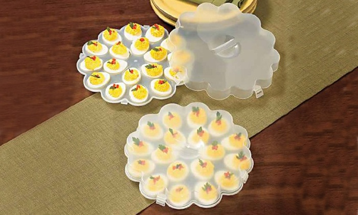 deviled egg tray set with snap on lids groupon