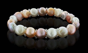 Genuine Freshwater Button-Shaped Pearl Bracelet by DIANE LO'REN