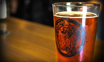 Two or Four Souvenir Pint Glasses and Draft Beers at Craft Brewing Company (Up to 43% Off)