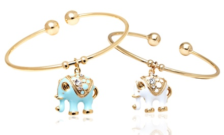 18K Gold Plated Crystal Elephant Charm Bangles or Fabric Bracelet with Swarovski Elements
