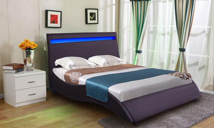 ... Groupon Goods Global GmbH: Brown Double Bed Frame With LED Headboard  With Free Delivery ...