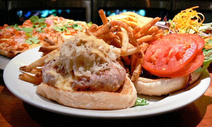 Amity Hall - Greenwich Village: Stuffed Burgers and Craft Beers for Two or Four at Amity Hall (Up to 54% Off)