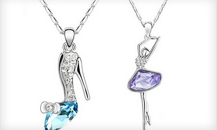 Kool Products 4 U: C$22.99 for an 18K White Gold-Plated  Crystal Pendant & Chain Necklace at Kool Products 4 U (C$99 Value)
