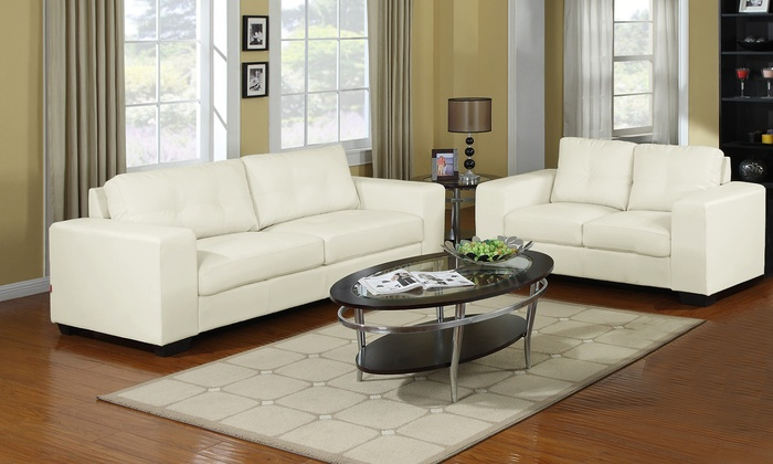 Ivory Leather Sofa And Loveseat Groupon Goods
