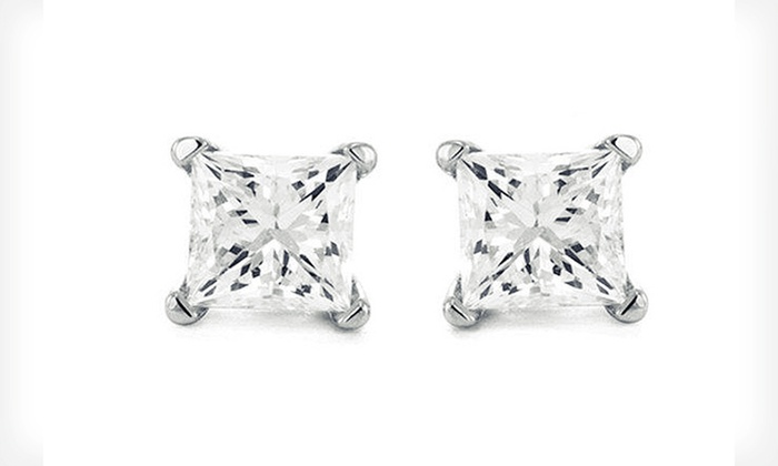 1.25, 1.5, or 2-Carat Princess-Cut Certified Diamond Stud Earrings: 1.25-, 1.50-, or 2-Carat TDW Princess-Cut Diamond Stud Earrings (Up to 60% Off). Free Shipping and Free Returns.