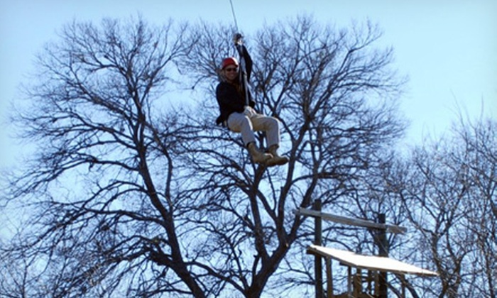 DFW Adventure Park - Justin-Roanoke: Zipline Tour for One or Entry to the Great Obstacle Race with a Zipline Cable for Two at DFW Adventure Park (47% Off)