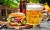 Menu hamburger e birra d'asporto