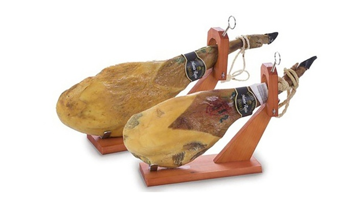 Groupon Goods Global GmbH: Spalla di prosciutto Serrano o iberico Monteregio con supporto, olio d'oliva, DVD, coltello e affilacoltelli