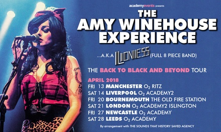 Amy Winehouse Experience, 20–28 April, Four Locations (Up to 40% Off)