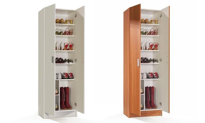 Mueble zapatero con 8 estantes groupon for Zapatero blanco conforama