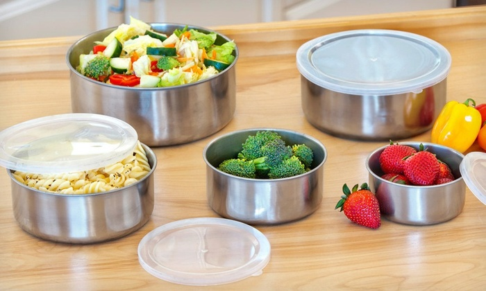 5-Piece Stainless Steel Bowl Set: 5-Piece Stainless Steel Bowl Set with Plastic Lids. Free Returns.