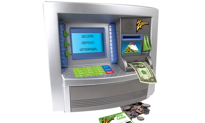 Zillionz savings goal atm bank groupon for 4 compartment piggy bank