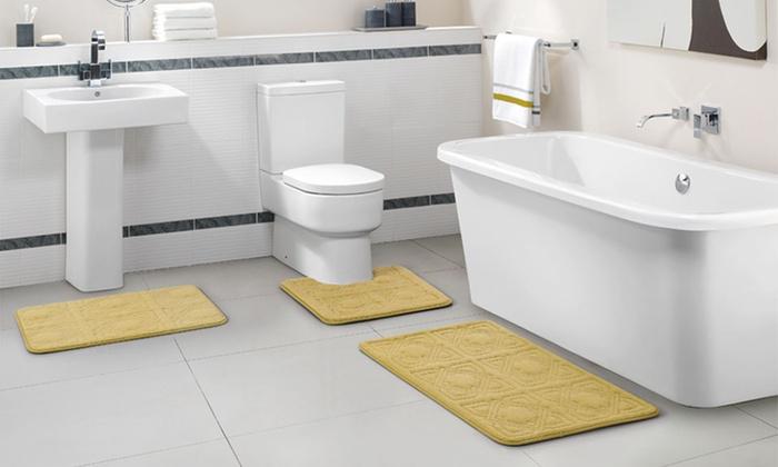 ... Embossed Memory Foam Bath Rug Set (3 Piece): Embossed Memory Foam Bath  ...