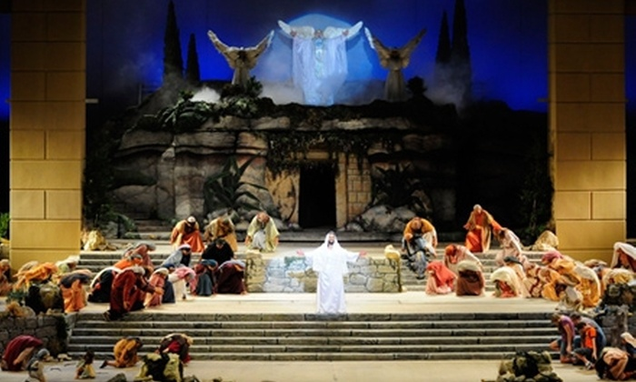 """""""The Promise"""" - The Texas Amphitheater: """"The Promise"""" Performance for Two at Texas Amphitheatre (Half Off). Three Seating Options Available."""
