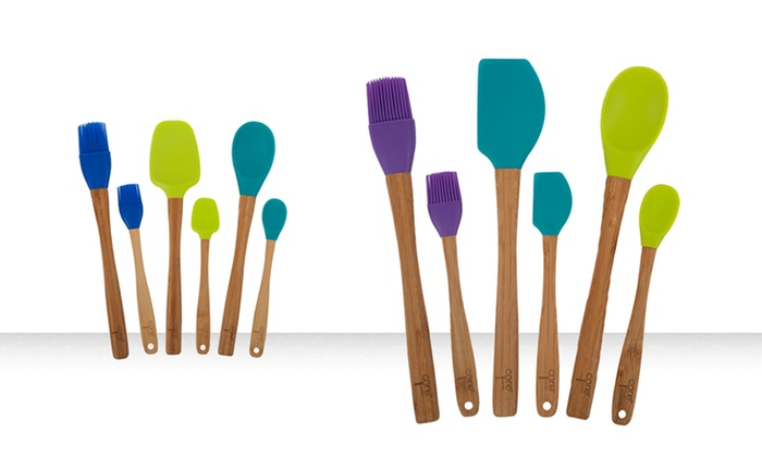 6-Piece Bamboo and Silicone Utensil Sets: 6-Piece Bamboo and Silicone Utensil Sets. Multiple Colors Available.