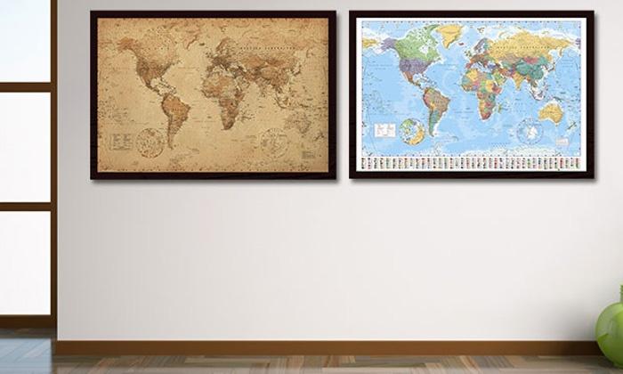 carte du monde encadr groupon. Black Bedroom Furniture Sets. Home Design Ideas