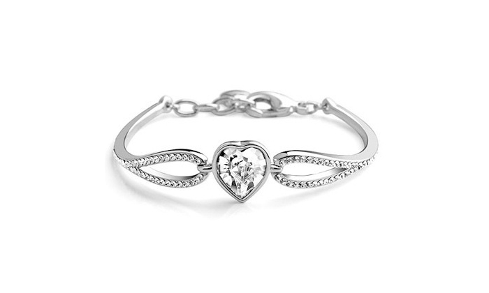 Groupon Goods: Heart Shape Alloy and Crystal Bracelet for R179.99 Including Delivery (40% Off)