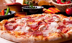 Pudge Brothers Pizza: Pizza and Wings for Carry Out or Delivery at Pudge Brothers Pizza (Up to 40% Off). Three Options Available.