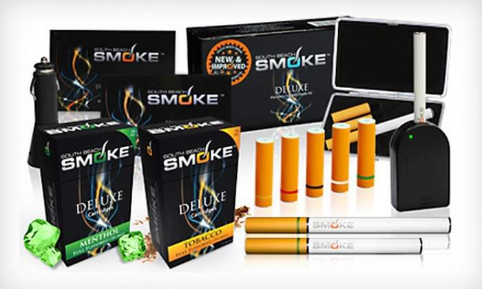 South Beach Smoke e-Cigarette Deluxe Kit: $24 for a South Beach Smoke Tobacco or Menthol e-Cigarette Deluxe Starter Kit ($166.65 List Price). Free Shipping.
