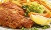 """Endlos Restaurant Cafe - Endlos Restaurant Cafe: Endlos """"Schnitzel satt"""" mit Kroketten oder Pommes und Getränk im Endlos Restaurant in Prenzlauer Berg am Kollwitzplatz"""
