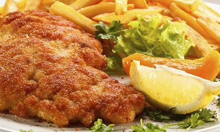 Schnitzel satt mit Beilage und Getränk nach Wahl im Endlos Restaurant Café in Prenzlauer Berg