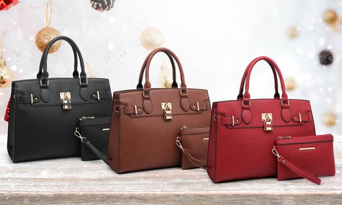 Amphora Marco Collection Women S Satchel Handbag With Wristlet