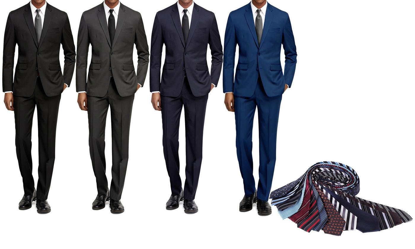 Braveman Slim Fit Suit with Free Tie