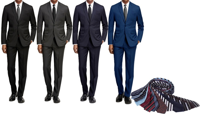 Braveman Slim Fit Suit with Free Tie | Groupon