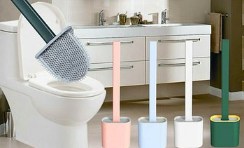 Flexible Silicone Toilet Brush with Holder