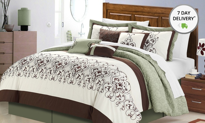 Embroidered 8-Piece Comforter Set: Embroidered 8-Piece Comforter Set. Multiple Sizes and Designs Available. Free Returns.