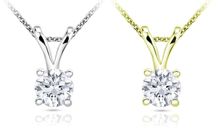 3/8 CTW Diamond Solitaire Pendant in 10K Gold