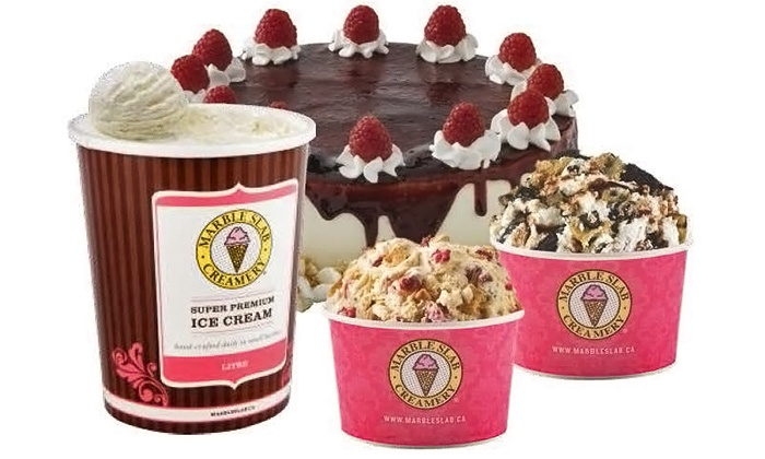 Marble Slab Creamery - Multiple Locations: Two Small Ice Creams, Two Pre-Packaged Litres, or Ice Cream Treats at Marble Slab Creamery (Up to 46% Off)