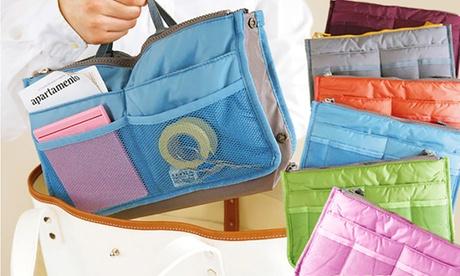 Organizador interior de bolsos con diferentes compartimentos