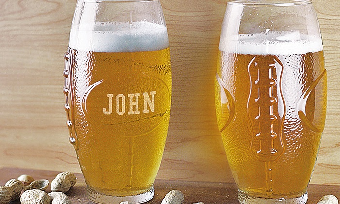 GiftsForYouNow.com: One, Two, Three, or Four Custom Engraved Football Glass Tumblers (Up to 60% Off)