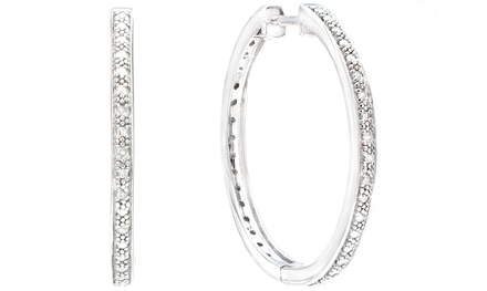 Sterling Silver Diamond-Accented Hoop Earrings