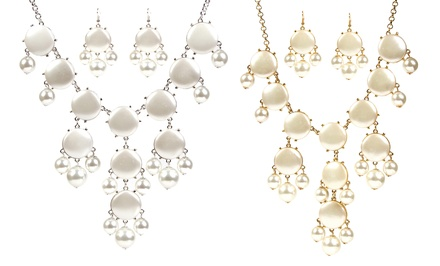 groupon daily deal - Pearl Beaded Bubble Necklace and Earring Set. Multiple Styles Available. Free Returns.