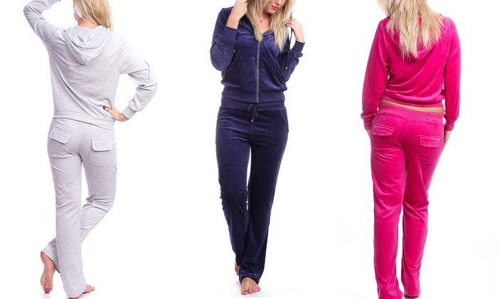 Women's Hooded Velour Tracksuit with Rhinestone Trim (2-Piece)