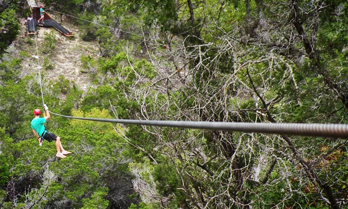 Zipline Tour with GoPro Headset Rental for One, Two, or Four at Wimberley Zipline Adventures (Up to 38% Off)
