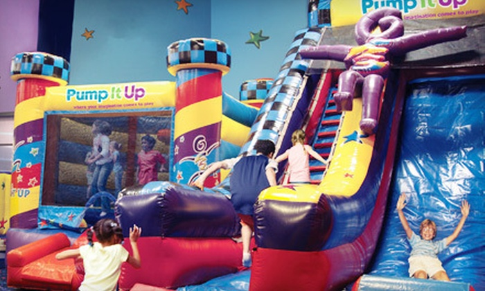 Pump It Up - Multiple Locations: Three, Five, or Ten Pop-In Playtime Visits at Pump It Up (Up to 57% Off)