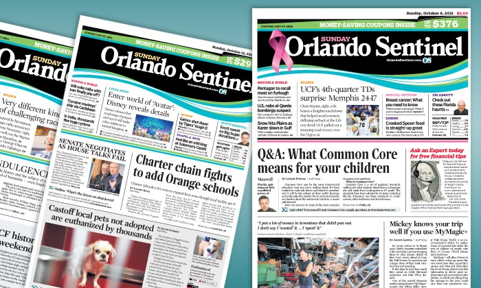 """Orlando Sentinel: $10 for a One-Year Sunday-Only Subscription to the """"Orlando Sentinel"""" ($85.08 Value)"""