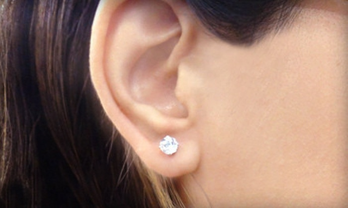 9 For A Pair Of 2 Carat White Topaz Earrings