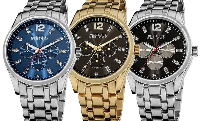 August Steiner Men's Multifunction Bracelet Watch: August Steiner Men's Multifunction Bracelet Watch. Multiple Styles Available. Free Returns.
