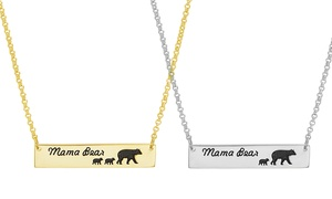 Nina & Grace Mama Bear & Baby Cub Bar Necklace