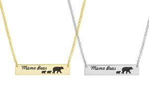 Nina & Grace Mama Bear & Baby Cub Bar Necklace