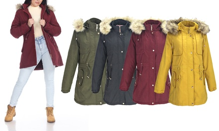 LeeHanTon Women's Sherpa Lined Military Style Parka Jacket. Plus Sizes Available.