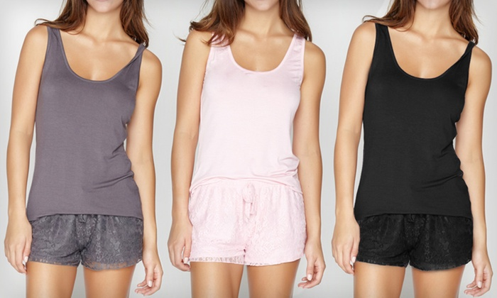 Tart Collections Lace Tank-and-Shorts Set: $21.99 for a Tart Collections Lace Tank-and-Shorts PJ Set ($72 List Price). Multiple Colors. Free Shipping & Returns.