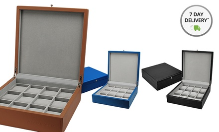 12-Spot Watch Collector's Box. Multiple Colors Available. Free Returns.