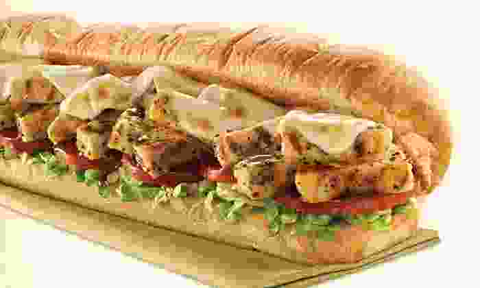 Subway 229 Chrystie St. - Bowery: Meal for Two with Footlong Subs, Chips, and Drinks, or Five 6-Inch Subs at Subway (Up to 53% Off)