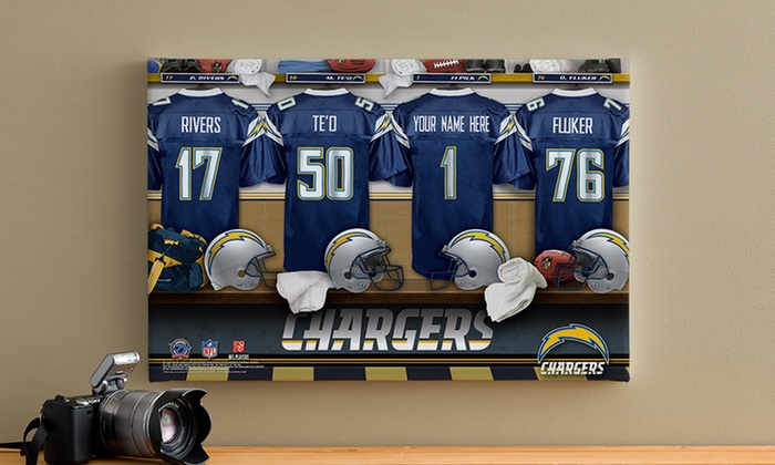 "Personalized 12""x18"" NFL Locker-Room Canvas from Personalization Mall: Personalized 12""x18"" NFL Locker-Room Canvas from Personalization Mall"